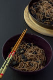 Soba noodles with mushrooms Royalty Free Stock Photos