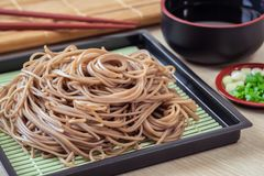 Soba noodles on plate, Japanese food Royalty Free Stock Images