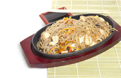 Soba noodles with seaweeds Stock Photos