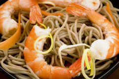 Soba noodles with shrimps Stock Photos