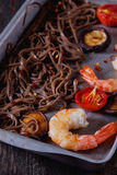 Soba noodles and shrimps Royalty Free Stock Images