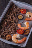 Soba noodles and shrimps Stock Photography
