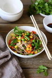 Soba noodles with vegetables Stock Photography