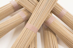Soba noodles on white background. Horizontal, cenital picture Stock Photography