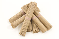 Soba noodles on white background. Horizontal, cenital picture Stock Photo