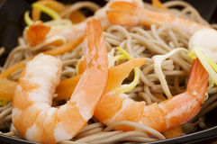 Soba Noodles With Shrimps Stock Photo