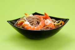 Soba Noodles With Shrimps Royalty Free Stock Images