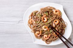 Soba with shrimp and chopsticks horizontal view from above Royalty Free Stock Photos