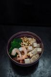 Soba with tofu, lentils sprouts, shrimp Royalty Free Stock Photo