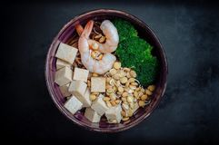 Soba with tofu, lentils sprouts, shrimp Stock Photography