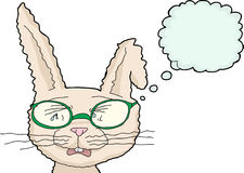 Sobbing Rabbit with Glasses Royalty Free Stock Photography