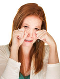 Sobbing Woman Rubbing Her Eyes Stock Images