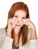 Sobbing Woman Rubbing Her Eyes Stock Images
