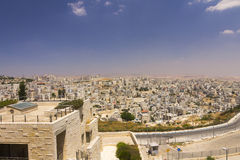 Sobborgo di Gerusalemme orientale e città di una Cisgiordania nei precedenti lontani Fotografia Stock Libera da Diritti