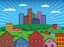 Sobborgo e città sull'illustrazione piana di progettazione della collina verde Fotografia Stock Libera da Diritti