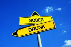 Sober vs Drunk. Traffic sign with two options - drink alcohol vs moderate drinking and consumption alcoholic beverage. Abstinence and moderation Stock Image