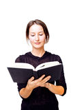 Sober woman reading Royalty Free Stock Photography