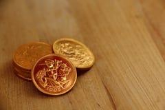 Soberanos pequenos do ouro da pilha Fotos de Stock