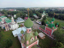 Sobor of the Vladimir Icon of the Mother of God. Aerial view of Sobor of the Vladimir Icon of the Mother of God and Church of Alexander Nevsky in Pereslavl Royalty Free Stock Images