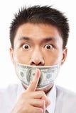 Soborne el concepto, boca sellada con la cuenta de dólar Foto de archivo