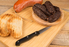 Sobrasada and morcilla. Traditional Spanish cold meat Stock Photos
