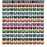 Sobre 100 iconos brillantes Imagen de archivo libre de regalías