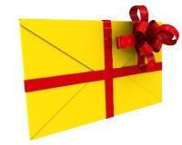 Sobre amarillo del regalo Imagen de archivo libre de regalías