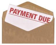 Sobre - carta debida del aviso del pago Foto de archivo libre de regalías