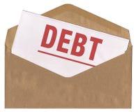 Sobre - carta del aviso de la deuda Imágenes de archivo libres de regalías