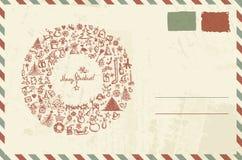 Sobre con bosquejo de la Navidad y lugar para su Imagenes de archivo