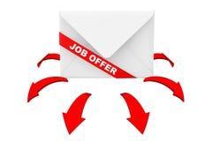 Sobre con Job Offer Ribbon Sign y la dirección roja que brilla intensamente AR Imagen de archivo