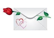 Sobre con la rosa Foto de archivo libre de regalías