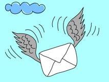 Sobre con las alas que vuelan hacia beneficiario Imagen de archivo libre de regalías