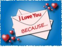 Sobre con las palabras te amo porque Foto de archivo libre de regalías