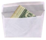 Sobre con los dólares americanos aislados, Imagen de archivo libre de regalías