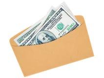 Sobre con los dólares del efectivo Fotografía de archivo libre de regalías