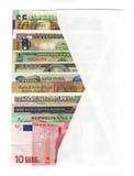 Sobre con moneda extranjera Fotos de archivo libres de regalías