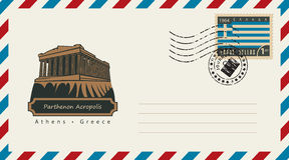 Sobre con un sello con Parthenon Fotografía de archivo libre de regalías