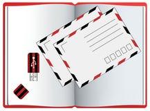 Sobre Cuaderno Icono de memoria USB s aislado Fotografía de archivo