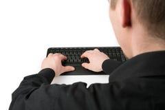 Sobre a datilografia do teclado do ombro Fotografia de Stock Royalty Free