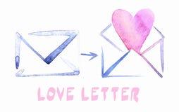 Sobre de la acuarela con el icono de la letra de amor Foto de archivo