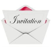 Sobre de la tarjeta de la palabra de la invitación invitado a ir de fiesta evento Imagen de archivo libre de regalías