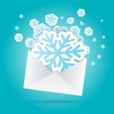 Sobre de los copos de nieve Imagen de archivo libre de regalías