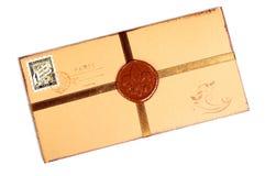 Sobre de papel del vintage con el sello de la cera. Fotografía de archivo