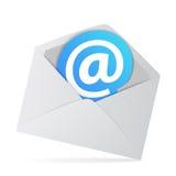 Sobre del correo electrónico con en símbolo del web Imagen de archivo