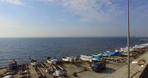 Sobre la bahía de Pomorian de la primavera en Bulgaria almacen de video
