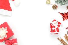Sobre la imagen aérea de la visión de ornamentos y del concepto de la Feliz Navidad de las decoraciones y de la Feliz Año Nuevo Imágenes de archivo libres de regalías