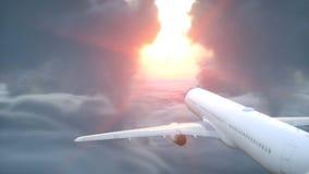 Sobre la opinión aérea de las nubes Avión del vuelo Puesta del sol de Wonderfull representación 3d Fotos de archivo libres de regalías