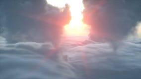 Sobre la opinión aérea de las nubes Puesta del sol de Wonderfull representación 3d Fotos de archivo