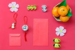 Sobre la visión tirada de fondo del Año Nuevo chino de los accesorios y del concepto del festival lunar Foto de archivo
